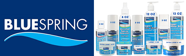 Blue Spring pain relief products and skin care