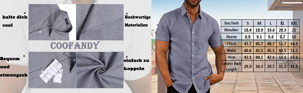 COOFANDY - Camisa de manga corta para hombre, de un solo color, para negocios, tiempo libre, ajustada, cuello céntimo para hombres