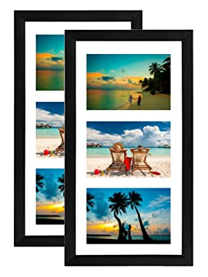 "Tasse Verre 8x14 inch black collage picture frame with 3 cutouts to display 4x6"" photos with mat"