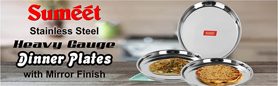 Sumeet Stainless Steel Heavy Gauge Dinner Plates with Mirror Finish