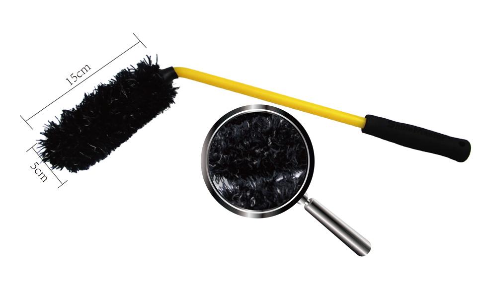 Maxshine Wheel Wool Brush for Car Detailing,Black,Length-55cm 45 Degree