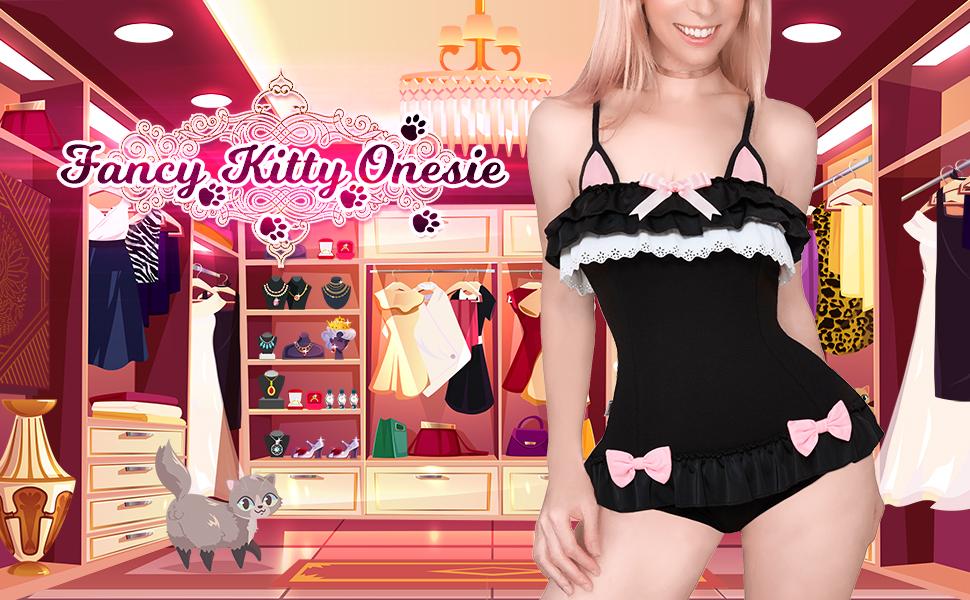 LittleForBig Algod/ón Fancy Kitty//Bunny Pelele Onesie Pijamas lencer/ía de Teddy de una Pieza Babydoll Traje