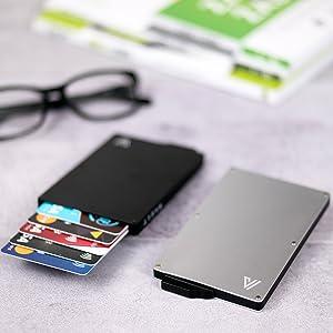 bank card metal wallet money clip rfid protected minimalistic thin slim men women wallet holder rfid