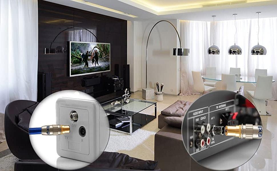 IBRA - 5m Cable de Antena HDTV Premium   Cable coaxial HDTV/Full HD   coaxial Macho en coaxial Macho   UHF/RF/TDT   contactos Dorados   Azul