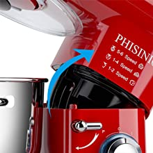 tilt head design stand mixer 6 speed with pulse function