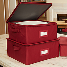Red stackable dish storage boxes