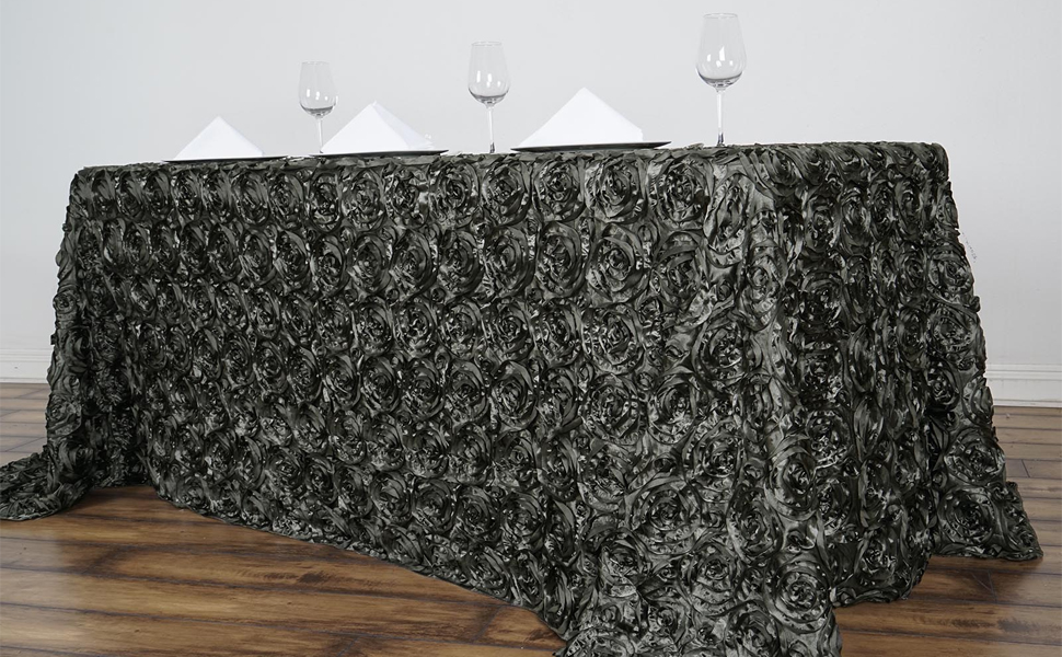 Satin raised rosettes rectangle tablecloth for wedding reception