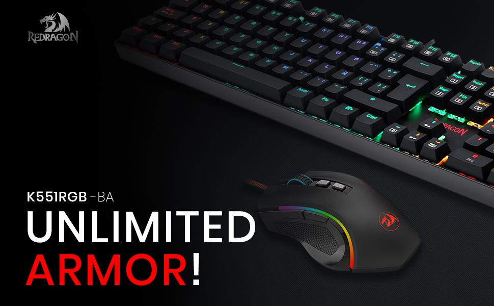 Pack Redragon K551RGB-BA RGB para juegos en PC, Combo teclado gaming mecánico Mitra interruptores Outemu Box Blue distribución España + ratón Griffin ...