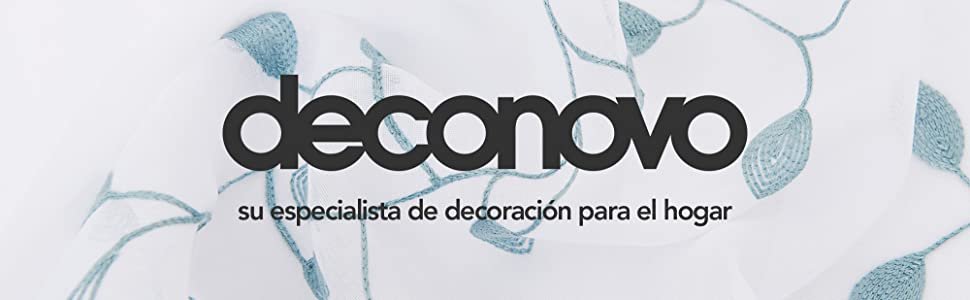 Deconovo Visillos para Ventanas Gasa Efecto Lino Cortina Transparente para Habitación Bebe Infantil 2 Paneles 140 x 290 cm Azul Verde: Amazon.es: Hogar
