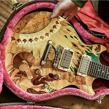 James Macdonald built the Eat a Peach Tribute Guitar using marquetry skills and WEST SYSTEM Epoxy.