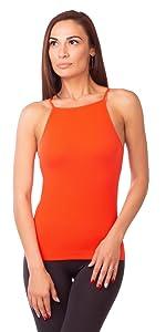 RONDO Women's Seamless Basic Layering Cami Tank Top with Spaghetti Straps Slim Fit White Beige Black