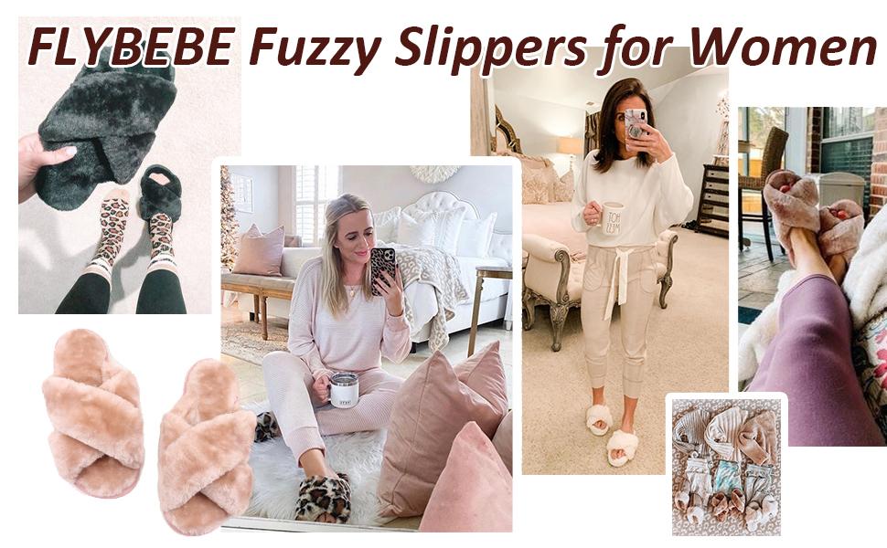Women's Fuzzy Fluffy Furry Fur Slippers Flip Flop Open Toe Cozy House Memory Foam Sandals Slides