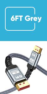 8K Displayport 1.4 cable 6.6FT