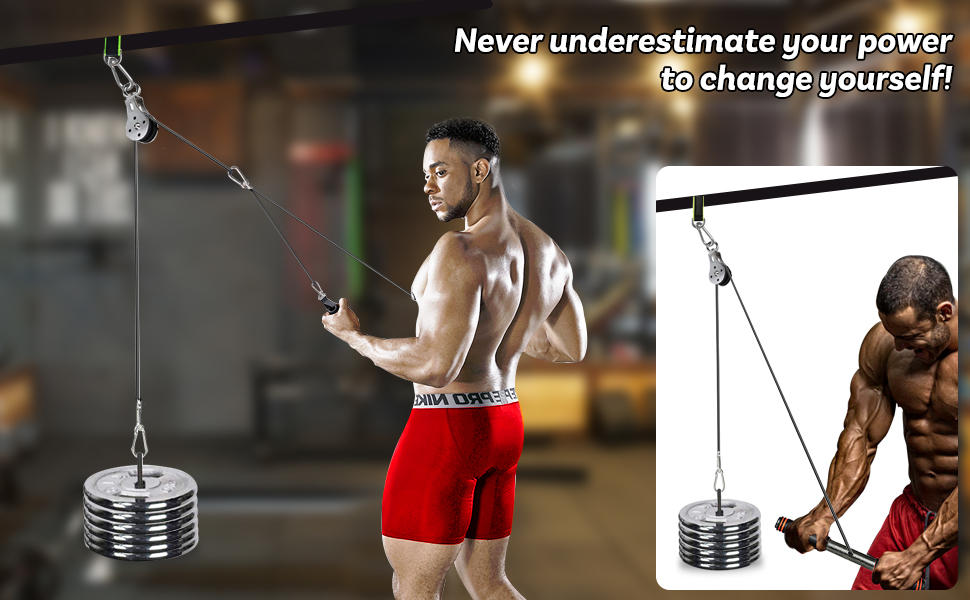 Trintion Wrist Roller Trainer Set Pulley Cable Wrist Roller Trainer Gym Fitness Training Equipment with Heavy Duty Pulley System for Biceps Forearm Extensions