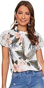 Milumia Women Tropical Print Lace Short Top Sleeve Keyhole Back Blouses