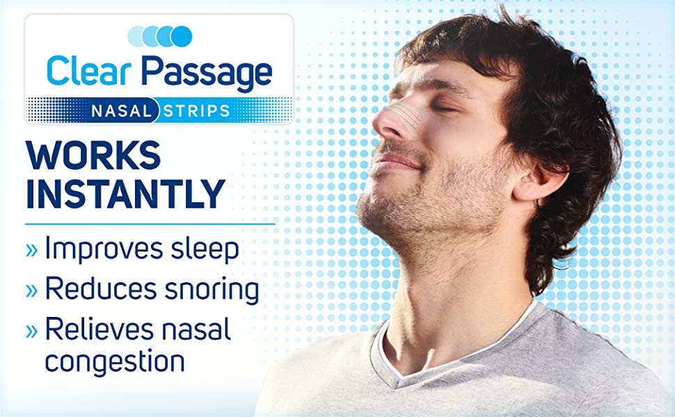 Clear Passage Nasal Strips for Snoring Sleep Congestion Compare to Breathe Right