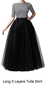 High Waist Long A-line Layers Party Tulle Skirt