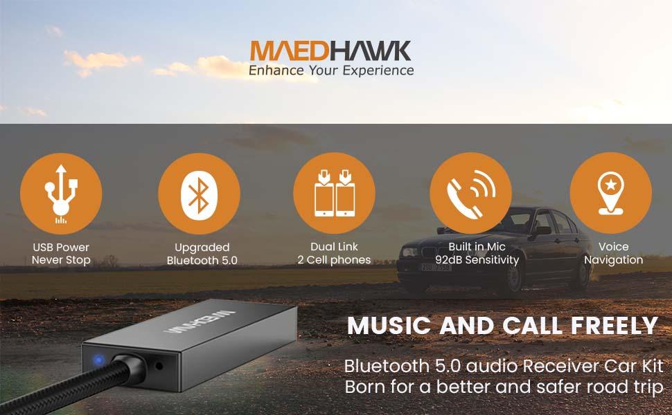 Bluetooth audio adapter aux car kit wireless receiver converter