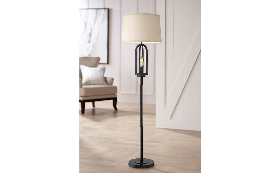 Marcel Black Metal Floor Lamp with Edison Night Light
