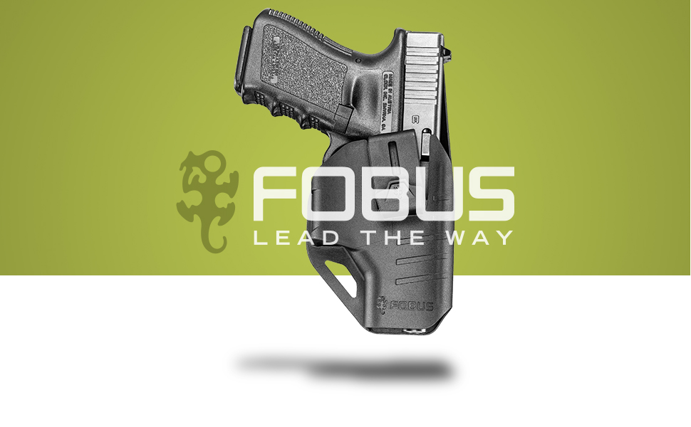 Fobus C Series - Glock inside holster in front of green background with Fobus logo overlaid