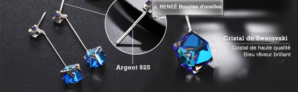 Bijoux Femme J RENE/É Longue Boucle d Oreille Femme avec Swarovski Cristal Cadeau Femme