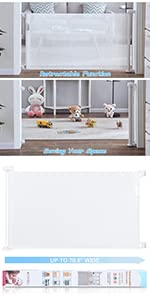 retractable baby gate white