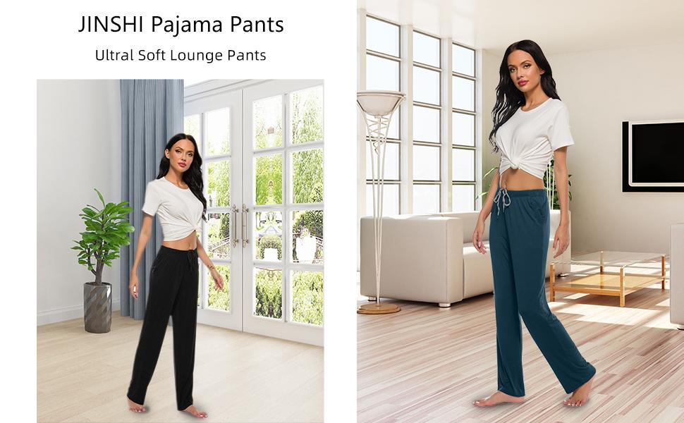 JINSHI Women Lounge Pants Ultral Soft Sleepwear Pants