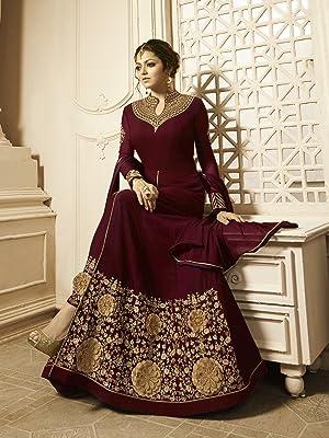 Fashion Basket Women's Georgette Semi-Stitched Embroidered anarkali Salwar Suit (Free Diwali Special 2021