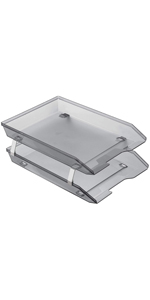 acrimet facility letter tray 2 tier front load smoke color