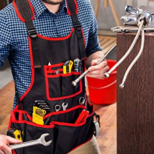 NoCry Heavy Duty Work Apron - 26 Tool Pockets ultra comfortable