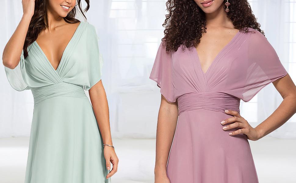 Elegant bridesmaid dresses long with flutter sleeve