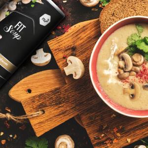 nu3 Fit Soup Creamy Mushroom - Sopa instantánea rica en fibra dietética - Crema de champiñones con proteína (405g) – Comida rápida deshidratada con ...