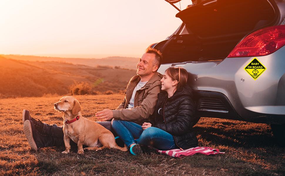 car sticker family travel kids dog comfortable safe