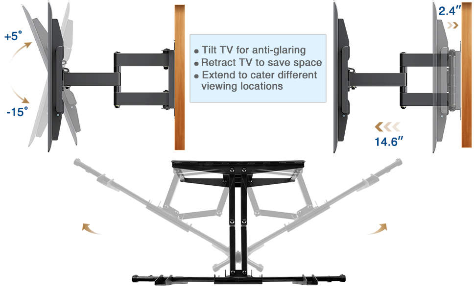 Full Motion Articulating TV Wall Mount TV bracket 65 inch mounting dream