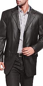 BGSD Men's Liam 3-Button Lambskin Leather Blazer