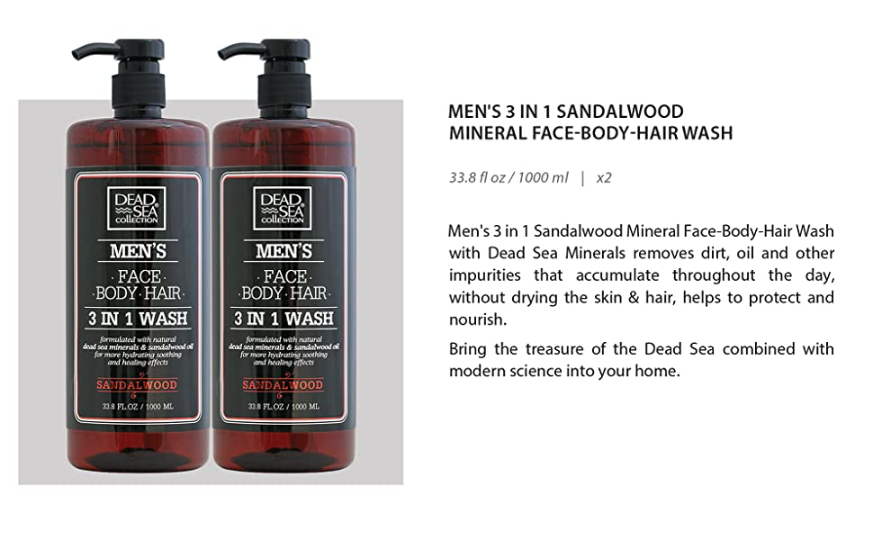 Dead Sea Collection Men's Mineral Face, Hair & Body Wash with Sandal-wood Extract
