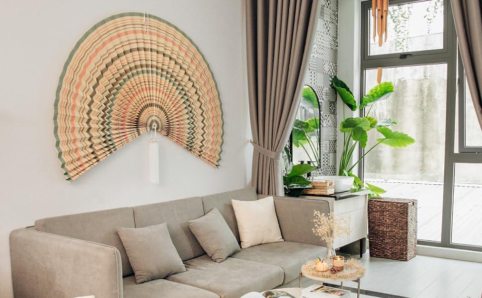 Giant Bamboo Folding Fan Wall Decor