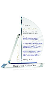 Custom Engraved Crystal Sailboat Executive Retirement Gift Plaque