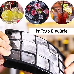 Pritogo® Molde de silicona para cubitos de hielo, 3,3 x 3,3 x 3,3 cm, sin BPA, para cerveza, cócteles, whisky