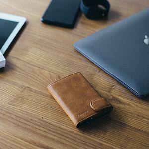 slim wallet premium leather metal card case aluminum