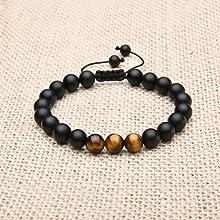 Black Onyx Stone and Tiger Eye Stone Braided