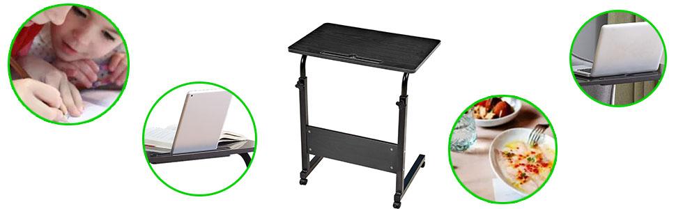 Adjustable Rolling Table Desk Laptop Notebook Stand Tiltable Tabletop Desk