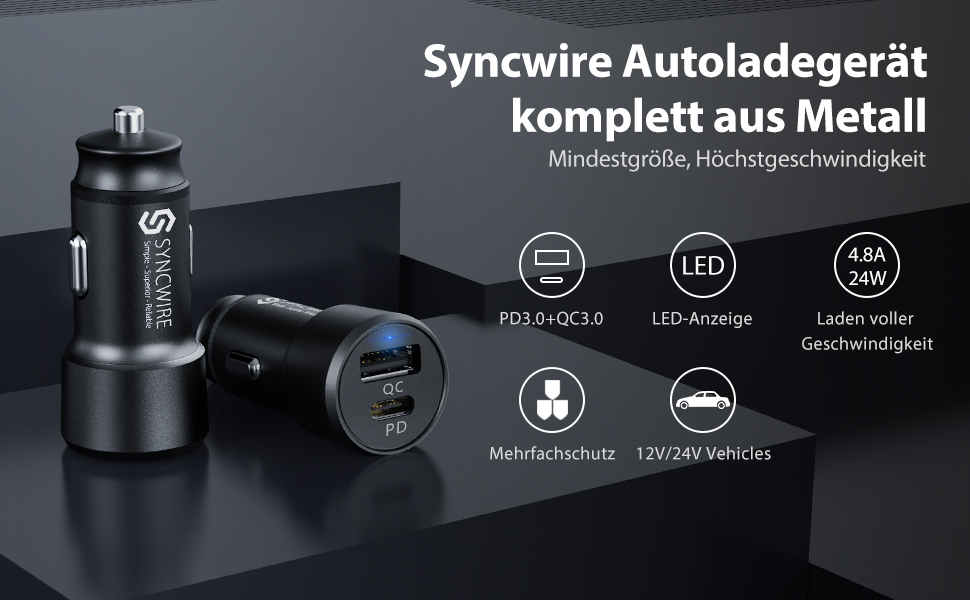 Syncwire KFZ Ladegerät USB C Metall