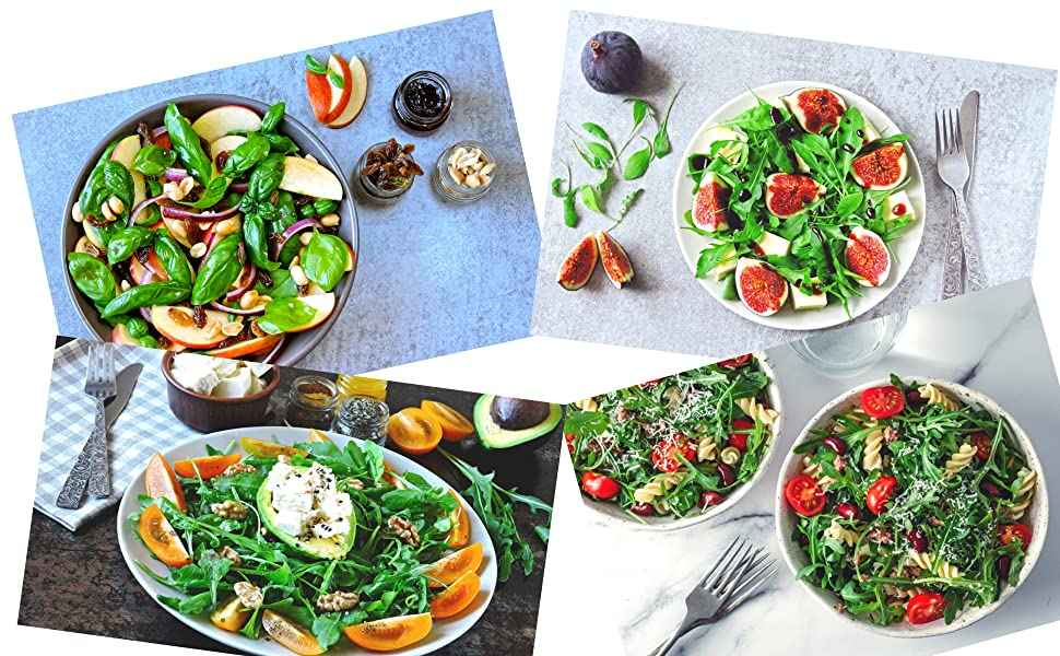 Collage of salad dishes