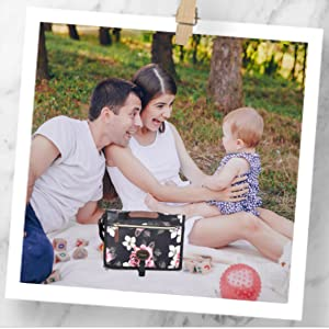 picnic camping outdoor with family park garden beach stroller pram garden travelling with baby
