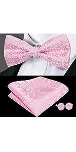 pink paisley bowtie hankerchief cufflinks set