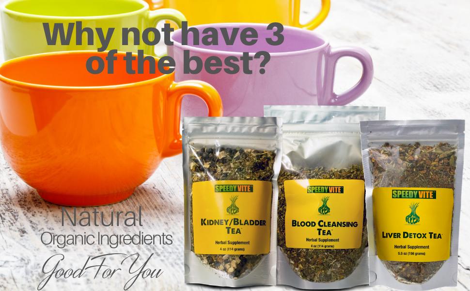 Speedyvite natural organic ingredient herbal teas blood cleansing, kidney bladder liver detox cleans