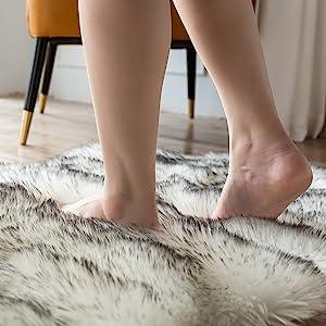 Plush fur rug soft