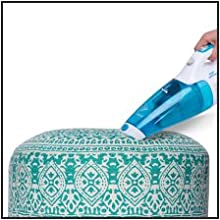 easy to clean vacuum wipe spot stool pouf puffy ottoman footstool footrest bed room living office