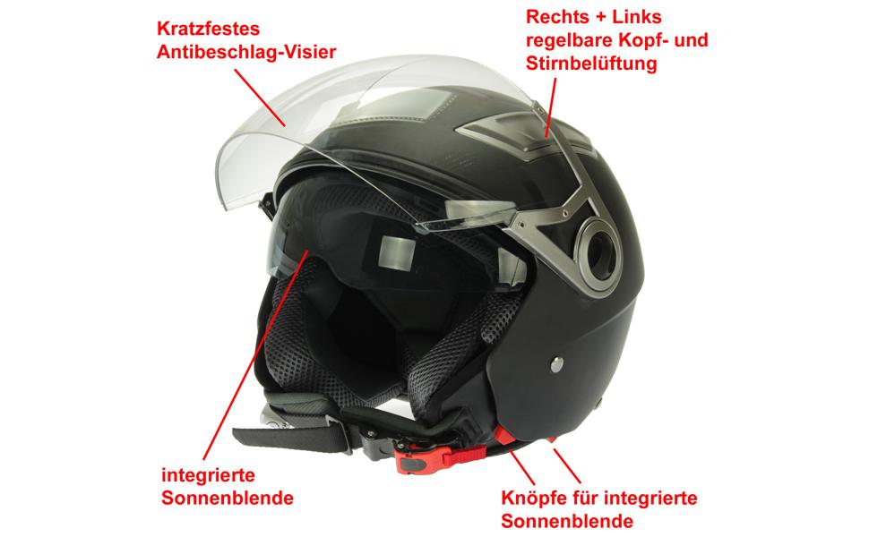 Mach1 Jethelm Helm Motorradhel Mit Integrierter Sonnenblende Ece R 22 05 Größe Xs Bis Xxl Sport Freizeit
